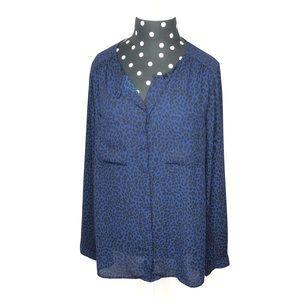 Loft blue leopard blouse size medium